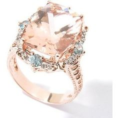 101765b04021 Peach Morganite and Blue Zircon with diamonds and rose gold.  luxurydesign  exclusive jewelry,