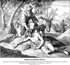 The Good Samaritan ; Julius Schnorr von CAROLSFELD ; 1851-60; engraving from « Bibel in Bildern »