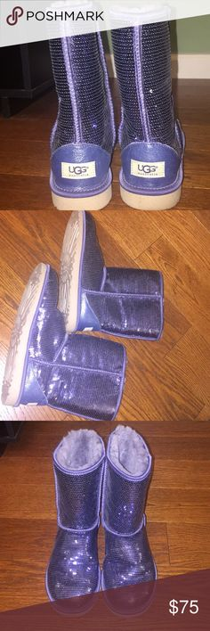 UGG Sequin Navy short boot Gently used! Minimal markings on sole. Navy sequin color with glitter through out sole of boot. Size 9 women's please check out my other listings for bundle opportunities! UGG Shoes Winter & Rain Boots