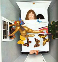 Artwork for I'm Only Sleeping from The Beatles illustrated lyrics by the late, great Alan Aldridge (June