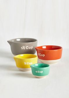 Bake a Day of It Measuring Cup. Preparing for your dinner guests just became an all-day affair thanks to these colorful measuring cups - you just dont want to stop baking! #multi #wedding #modcloth