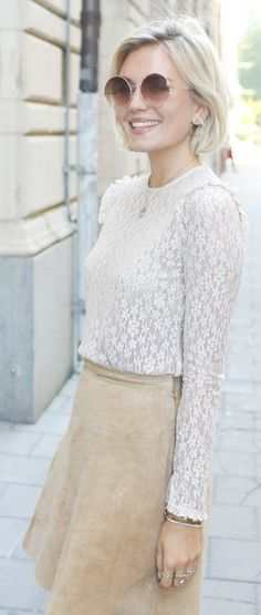 This lace top is utterly breathtaking, and just what you need to pair with a suede skirt. Via Josefin Dahlberg Shops: Not Specified
