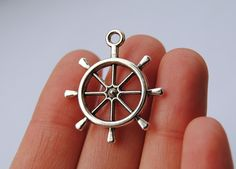 10pcs 25x28mm Nautical Ships Wheel Rudder Charm by LadyCollection