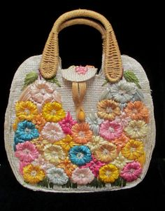 Vintage Cabana Straw Handbag Raised Yellow Pink by retrogal415