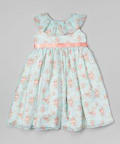 Mint & Pink Floral Chiffon Dress - Infant, Toddler & Girls | zulily