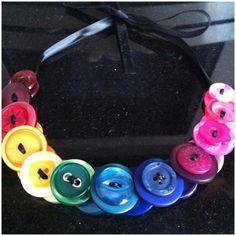 Rainbow button ribbon necklace