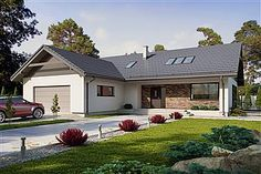 Projekt domu Endo 113,29 m2 - koszt budowy - EXTRADOM Merlin Home, Bungalow, Portuguese, Brick, House Plans, Villa, New Homes, Exterior, House Design
