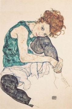 Egon Schiele; Donna seduta con ginocchio sollevato; 1917; carboncino, guazzo, gesso; Galleria nazionale, Praga.