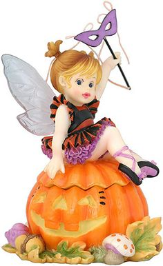 "Pumpkin Fairie Box with Costume Fairy Figurine 5.5""H 3.88""W My Little Kitchen Fairies is an adorable line of mischievous fairies. Bright colors and whimsical poses make the pieces in this collection ideal for display in your kitchen, and make wonderful heart-warming gifts. $25.49"