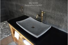 Washroom Tiles, Granite Bathroom, Concrete Bathroom, Vessel Sink Bathroom, Bathroom Fixtures, Bathrooms, Mason Work, Bali, Basalt Stone