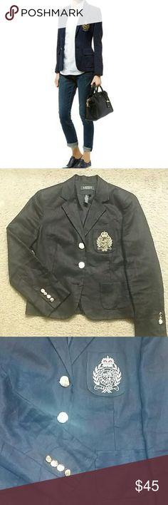 Ralph Lauren Crest Blazer LAUREN RALPH LAUREN  Women's crest linen blazer 100% linen  Navy blue  Gold crest and buttons Size 8P Great condition  *missing 2 buttons* Ralph Lauren Jackets & Coats Blazers