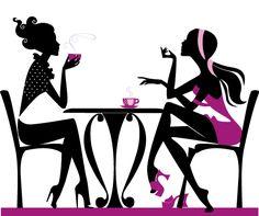 Chicas tomando café 2, imagen vectorial.
