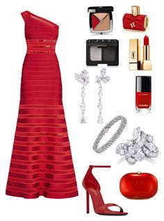 A fashion look from October 2017 featuring red evening dresses, Yves Saint Laurent and cross-body handbag. Browse and shop related looks. Coordinating Colors, Carolina Herrera, Barneys New York, Cross Body Handbags, Nars Cosmetics, Yves Saint Laurent, Evening Dresses, Chanel, Fashion Looks