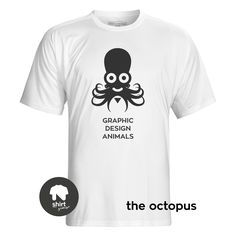 Graphic Design Animals T-Shirt Series, The Octopus by George Nikolaidis Graphic Design, Octopus, Mens Tops, T Shirt, Animals, Fish, Animales, Tee, Animaux