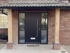 Take a peek at our site for a lot more that is related to this eye-popping black front doors Front Door Steps, Front Door Porch, Front Porch Design, Exterior Front Doors, House Front Door, House Entrance, Entrance Doors, Porch Uk, Black Front Doors