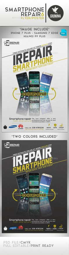 Smartphone Repair 6 Flyer/Poster  — PSD Template #damaged #smartphone • Download ➝ https://graphicriver.net/item/smartphone-repair-6-flyerposter/17999942?ref=pxcr
