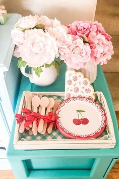 Take a look at this pretty shabby chic cherry-themed birthday party! The cutlery and plates are so cute! See more party ideas and share yours at CatchMyParty.com #catchmyparty #partyideas #cherry #cherryparty #girlbirthdayparty #shabbychicparty #girlbirthdayparty #tablesettings