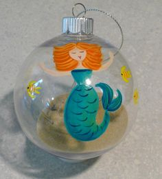 Hand-Painted Mermaid Orjnament by newcreationsbythepay on Etsy