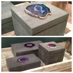 #Shagreen boxes adorned with sliced #agate by Regina Andrew.  Available in 3 different sizes & 2 colors.  It's jewelry for your cocktail table,  bookcase or console! Use them simply for decoration or an ultra chic way to get #oraganized.  IHFC #hpmkt #stylespotters #blue #aqua #purple #gray