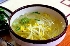 : Korean Bean Sprout Soup (Kongnamul Gook) Recipe This Picture by The Recipe can be found HERE I do not take credit for . Korean Dishes, Korean Food, Vegetarian Recipes, Cooking Recipes, Healthy Recipes, Healthy Food, Bean Sprout Recipes, Bean Sprout Soup Recipe, Tofu
