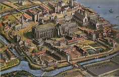 Reconstruction of the Palace and Abbey of Westminster – this is how the area would have looked at the beginning of the Tudor period.