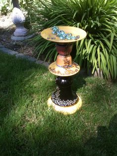 Birdbath from recycled materials by Susan Scovil