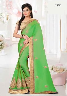 LadyIndia.com # Partywear Sarees, Partywear Green Colored 23641 Designer Art Silk Traditional Sarees With Embroidery, Patch Border Work Sari For Women, Designer Sarees, Art Silk Sarees, Partywear Sarees, Traditioanl Sarees, https://ladyindia.com/products/partywear-green-colored-23641-designer-art-silk-traditional-sarees-with-embroidery-lace-patch-border-work-sari-for-women