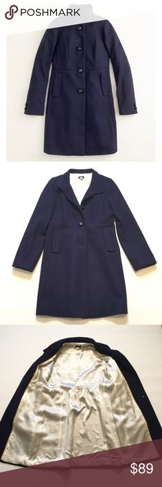 """J. Crew Wool Coat Size 8. Fully lined. Hits just above knee. Wool/viscose/poly. Arm length approx 25"""" length approx 36.5"""" J. Crew Jackets & Coats"""