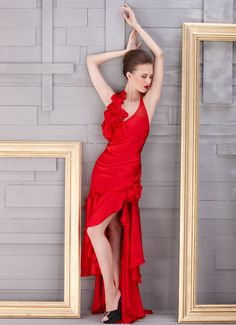 Red Halter High-low Gown