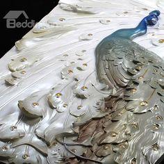 Delicate Three-dimensional Sculpture Peacock Wall Art Prints - beddinginn.com