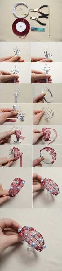 Tutorial on How to Make Red Wire Ribbon Wrapped Bracelets with Pearl Beads from LC.Pandahall.com #pandahall