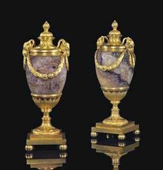 A PAIR OF GEORGE III ORMOLU AND BLUE-JOHN CANDLE VASES  BY MATTHEW BOULTON, CIRCA 1770
