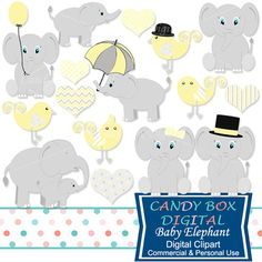 So cute! Baby Elephant Clipart in yellow, great for scrapbooks, invitations, web design. Baby Clip art - Candy Box Digital