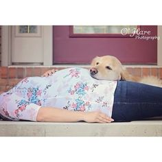 Include baby (and mommy's) best friend. | 38 Insanely Adorable Ideas For Your Maternity Photo Shoot