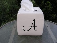 Monogramed Glazed Tissue Cover Box Black Letters by whitedovecrafts on Etsy   Elegant bathroom, bedroom decor to adore.  Or just snaze up your desk.
