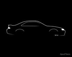 Brushstroke Design' Poster by ApexFibers Car Silhouette, Nissan 240sx, Automotive Design, Brush Strokes, Play Houses, Originals, Logo Design, China, Japan