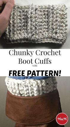 Beginning Crochet Chunky Crochet Boot Cuffs with Free Pattern! - Needing an easy and free crochet pattern? Check out this post with a free chunky crochet pattern for boot cuffs! You'll love the knitted look of these! Diy Crochet Sweater, Crochet Boots, Crochet Gloves, Chunky Crochet, Easy Crochet, Irish Crochet, Free Crochet, Crochet Things, Knit Hats