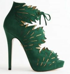 Charlotte Olympia - green bootie heel - Green clothes shoes accessories - myLusciousLife.com.jpg