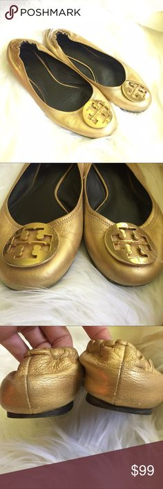 Tory Burch Gold Leather Reva Ballet Flats GUC well loved with a lot of life left. See all pics. I will include custom shoe cream to keep them looking fresh. Size 8 Tory Burch Shoes Flats & Loafers