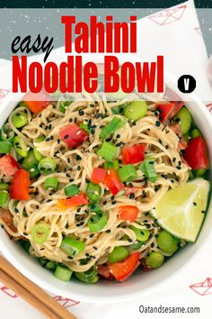 Easy Tahini Noodle Bowl tossed with steamed edamame, red pepper, and scallions, all dressed up in a creamy tahini-peanut butter sauce. #tahini #noodlebowl #ramen #vegetarianlunchideas #healthyrecipes #OatandSesame Vegetarian Lunch, Vegetarian Recipes Easy, Lunch Recipes, Healthy Recipes, Tahini Recipe, Tahini Sauce, Peanut Butter Sauce, Butter Rice, Noodle Bowls