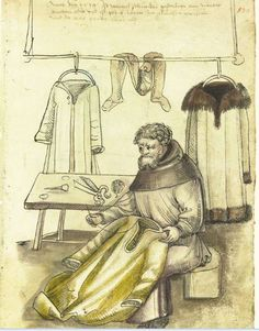 wentzel Schneyder, tailor, Mendel I, Hausbuecher der… Medieval Market, Medieval Life, Medieval Fashion, Medieval Clothing, Historical Clothing, Medieval Dress, Medieval Manuscript, Illuminated Manuscript, 16th Century Clothing
