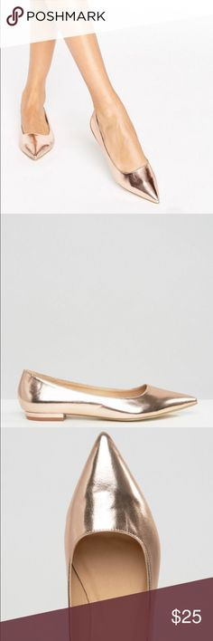 ASOS RAID Rose Gold Flats Rose Gold metallic finish. Slip on style. Faux leather upper. Worn once and in excellent condition. ASOS Shoes