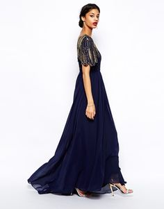 Navy blue Great Gatsby long dress - ASOS Virgos Lounge Lena Maxi Dress With Embellishment