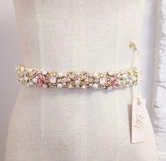 Blush Crystal Bridal Belt- Custom- Swarovski Crystal Bridal Sash- Pink Swarovski Bridal Belt