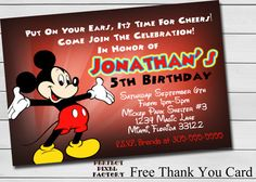 MICKEY MOUSE BIRTHDAY Invitations Printable by PerfectPixelFactory