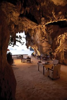 Grotto at Rayavadee Krabi, Thailand - Situated at the heart of the Phranang Peninsula on the edge of Krabi Marine National Park, Rayavadee is nestled amidst tropical gardens & coconut groves against a backdrop of cliffs, lush jungle foliage & the clear waters of the Andaman Sea