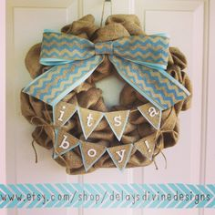 """""""It's A Boy"""" Burlap Baby Shower Wreath with Bunting   https://www.etsy.com/shop/DelaysDivineDesigns"""