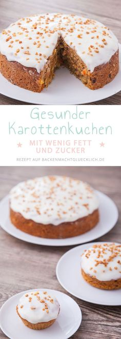 This healthy carrot cake recipe will be deliciously juicy and fruity. The cake …. This healthy carrot cake recipe will be deliciously juicy and fruity. The cake … – Backenmachtglücklich Rezepte – # Easy Bread Recipes, Baking Recipes, Cake Recipes, Low Calorie Cake, Baking Power, Snacks Sains, Healthy Carrot Cakes, Salty Cake, Food Cakes