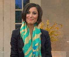 Amy Stran @QVC in our zebra printed wrap in turquoise #VTLuxe