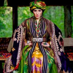 Uzbek old traditional ethnic clothes, central asian textiles.